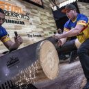 Team Romania competes during the Time Trials for the Team Competition of the Stihl Timbersports World Championships at the Hakons Hall in Lillehammer, Norway on November 3, 2017.